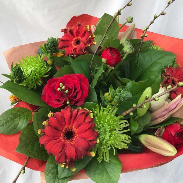 Boeket Rood €15 Scheerhoorn Bloemen Leek