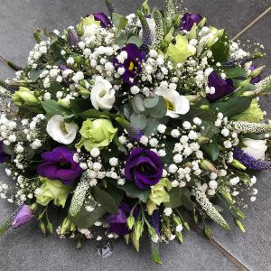 Biedermeier Blauw Wit groot €85 Scheerhoorn Bloemen Leek